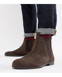 H by Hudson - Wide Fit Atherston Chelsea Boots In Brown Suede - Lyst