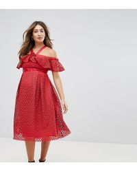 ASOS - Lace Cold Shoulder Midi Dress - Lyst