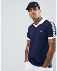 Fred Perry - Sports Authentic Taped Polo In Navy - Lyst