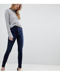 ASOS - Asos Design Tall Ridley High Waist Skinny Jeans In Blue Black Wash - Lyst
