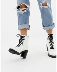 Faith - Barc Chunky Heeled Hiker Boots In White - Lyst