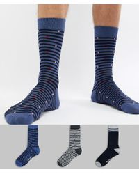 Ben Sherman - 3 Pack Patterned Sock - Lyst