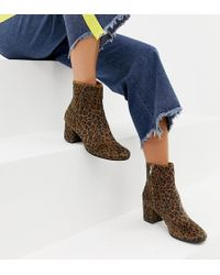 Monki - Pony Hair Leopard Print Heeled Boots In Brown - Lyst