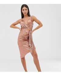 TFNC London Wrap Front Mini Sequin Dress In Rose Gold