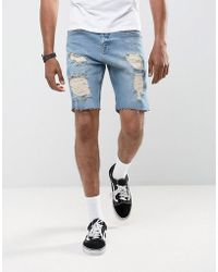 ASOS - Denim Shorts In Slim Mid Wash Vintage Blue With Heavy Rips - Lyst
