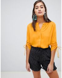 Soaked In Luxury - Gathered Sleeve Shirt - Lyst