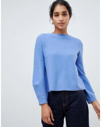 Oasis - Bell Sleeve Compact Knitted Jumper In Light Blue - Lyst