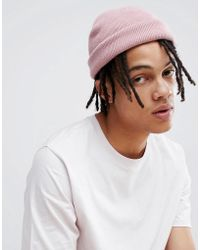 a35016ed6e6 Asos Asos Mini Fisherman Beanie In Pink in Pink for Men - Lyst