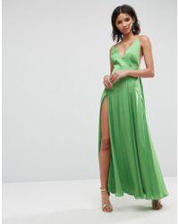 5baa084799fb ASOS Square Neck Cami Maxi Dress in Blue - Lyst