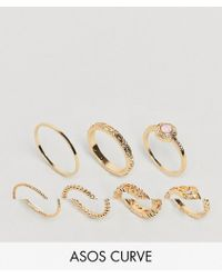 ASOS - Asos Design Curve Pack Of 7 Faux Rose Quartz And Filligree Rings - Lyst
