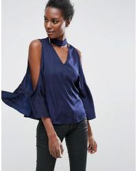 ASOS - Cold Shoulder Satin Swing Top With Deep Plunge And Choker Detail - Lyst