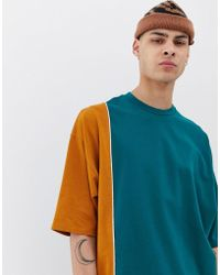 ASOS - Heavyweight Oversized Longline T-shirt With Half Sleeve And Vertical Color Block - Lyst