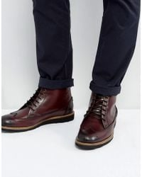 Original Penguin - Creasy Brogue Boots In Bordo - Lyst