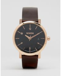 Nixon - Rollo 38 Leather Watch In Brown - Brown - Lyst