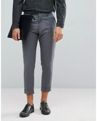 SELECTED - Smart Cropped Pants In Gray - Lyst