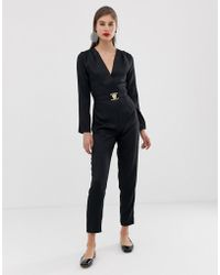 UNIQUE21 - Tailored Jumpsuit With Gold Buckle Detail - Lyst