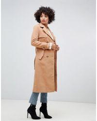 Missguided - Trench Coat In Camel - Lyst