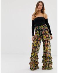 ASOS Wide Leg Pants In Floral Print Mesh With Ruffle Hem
