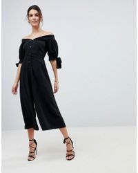 ASOS - Tea Jumpsuit With Off Shoulder Detail And Tie Sleeve - Lyst