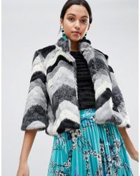 Traffic People - Faxu Fur Chevron Jacket - Lyst