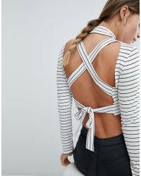 PrettyLittleThing - Stripe Tie Back Crop Top - Lyst