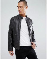 Barneys Originals - Real Leather Biker Jacket - Lyst
