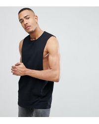 ASOS - Design Tall Longline Singlet With Extreme Dropped Armhole In Black - Lyst