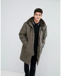 Stradivarius - Padded Parka With Borg Lined Hood In Khaki - Lyst