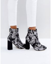 New Look - Floral Sequin Embellished Heeled Ankle Boot - Lyst