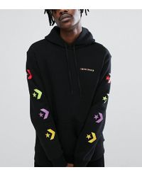Converse - Pullover Hoodie With Arm Print In Black Exclusive To Asos - Lyst