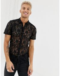 ASOS - Skinny Fit Lace Shirt In Black - Lyst