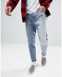 ASOS - Tapered Jeans In Two Tone Mid Wash - Lyst
