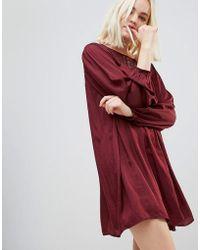 Hazel | Long Sleeved Lace Yolk Shift Dress | Lyst