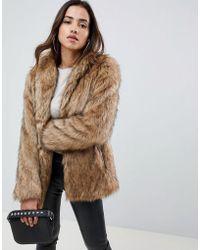 ASOS - Stand Collar Faux Fur Coat - Lyst