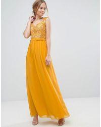 Little Mistress - Allover Lace Applique Top Maxi Dress - Lyst