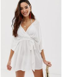 ASOS - Plunge Tie Waist Kimono Sleeve Crinkle Beach Cover Up In White - Lyst