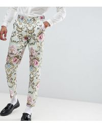 ASOS - Tall Wedding Skinny Suit Pants In Pastel Floral Jacquard - Lyst