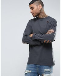 ASOS - Oversized Long Sleeve T-shirt In Washed Black With Distressing - Lyst
