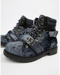 Pieces - Velvet Hiking Boot - Lyst