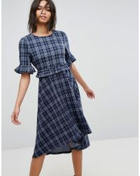 3bf7eae2c Vero Moda - Hi-low Check Midi Dress - Lyst