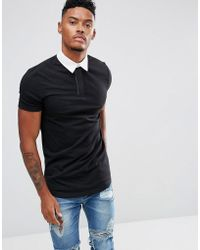 ASOS - Longline Muscle Rugby Polo Shirt In Black With Curved Hem - Lyst