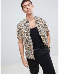 Bellfield - Short Sleeve Shirt With Cheetah Print - Lyst