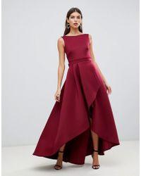 True Violet - Vestido largo asimtrico de neopreno con espalda abierta y detalle de lazo en rojo exclusivo de - Lyst