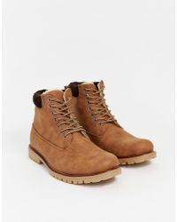 New Look - Worker Boots In Tan - Lyst