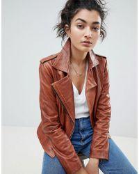 Barneys Originals - Leather Biker Jacket - Lyst