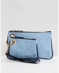 ASOS - Design Double Zip Top Wristlet Clutch Bag - Lyst