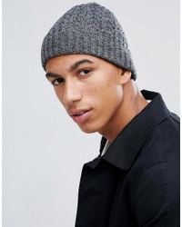ASOS - Fisherman Beanie In Black & Grey Twist Cable Knit - Lyst