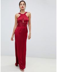 Little Mistress - Satin Maxi Dress With Keyhole And Gathered Detail - Lyst