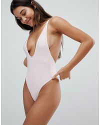 TWIIN - Plunge Ribbed Swimsuit - Lyst