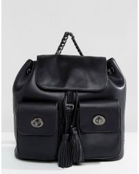 Marc B. - Double Pocket Backpack With Tassel Detail In Black - Lyst